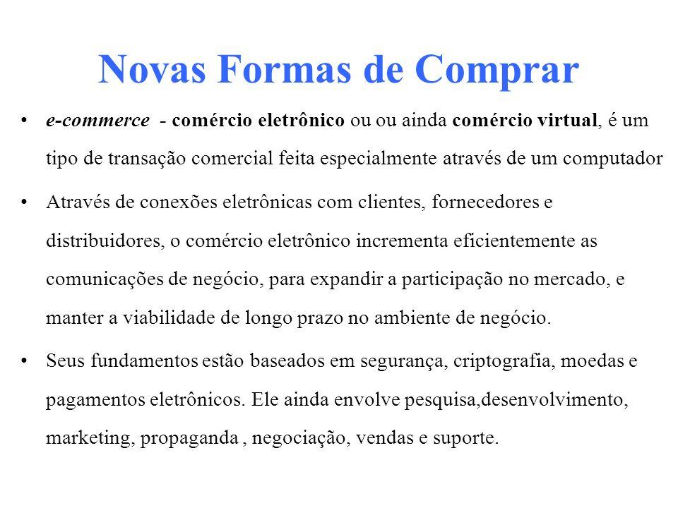 Novas Formas de Comprar e-commerce - comércio eletrônico ou ou ainda comércio virtual, é um tipo de transação comercial feita especialmente através de