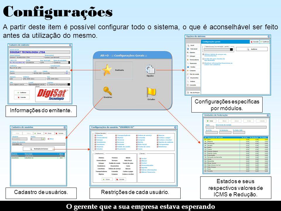 Configurações A partir deste item é possível configurar todo o sistema, o que é aconselhável ser feito antes da utilização do mesmo.