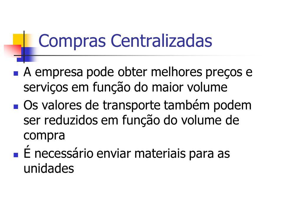 Compras Centralizadas A empresa pode obter melhores preços e serviços em função do maior volume Os valores de transporte também podem ser reduzidos em