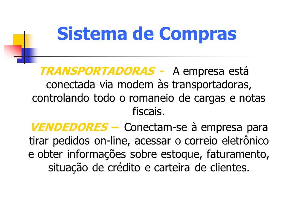 Sistema de Compras TRANSPORTADORAS - A empresa está conectada via modem às transportadoras, controlando todo o romaneio de cargas e notas fiscais. VEN