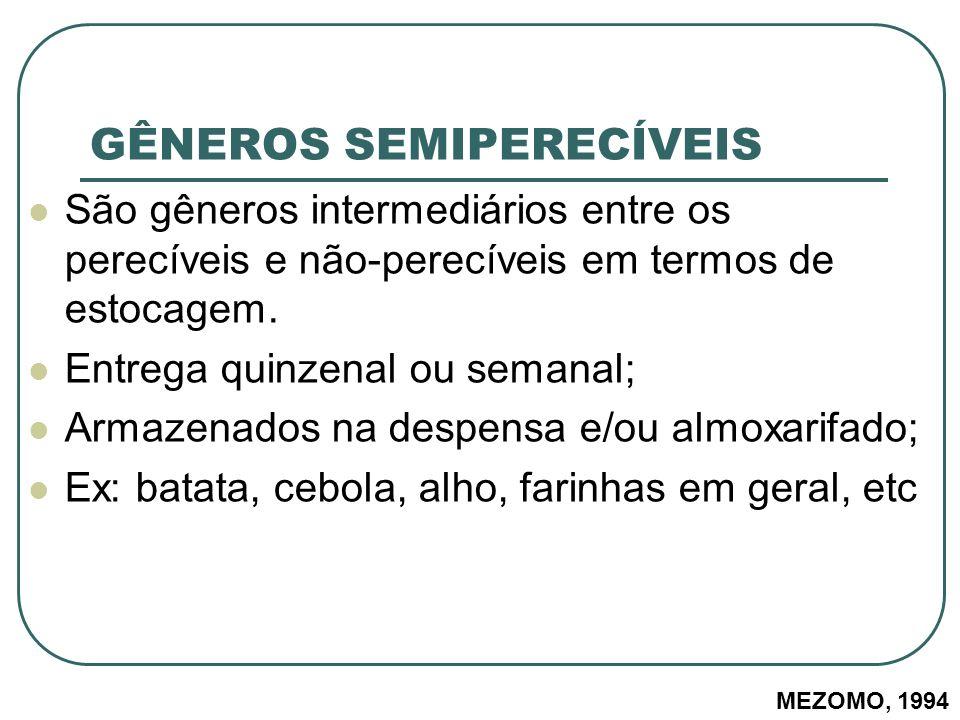 GÊNEROS SEMIPERECÍVEIS São gêneros intermediários entre os perecíveis e não-perecíveis em termos de estocagem. Entrega quinzenal ou semanal; Armazenad