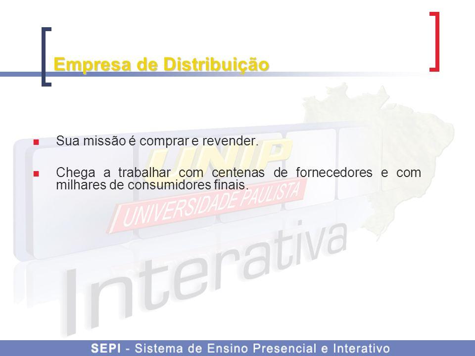 Empresa de Distribuição Sua missão é comprar e revender.