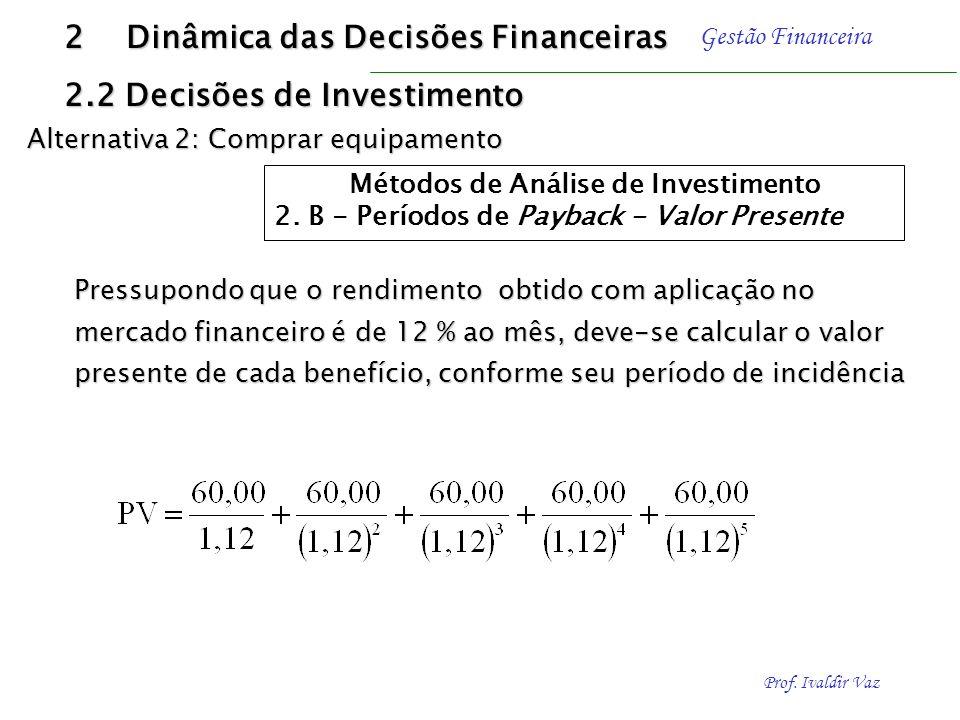 Prof. Ivaldir Vaz Gestão Financeira 2 Dinâmica das Decisões Financeiras 2.2 Decisões de Investimento Método de payback - Contudo, os benefícios ocorre