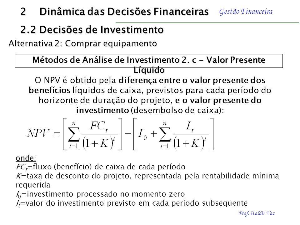 Prof. Ivaldir Vaz Gestão Financeira ALTER- NATIVA VALOR DO INVESTI- MENTO FLUXOS DE CAIXA ANO 1ANO 2ANO 3ANO 4ANO 5 C $ 500.000$ 400.000$ 100.000$ 50.