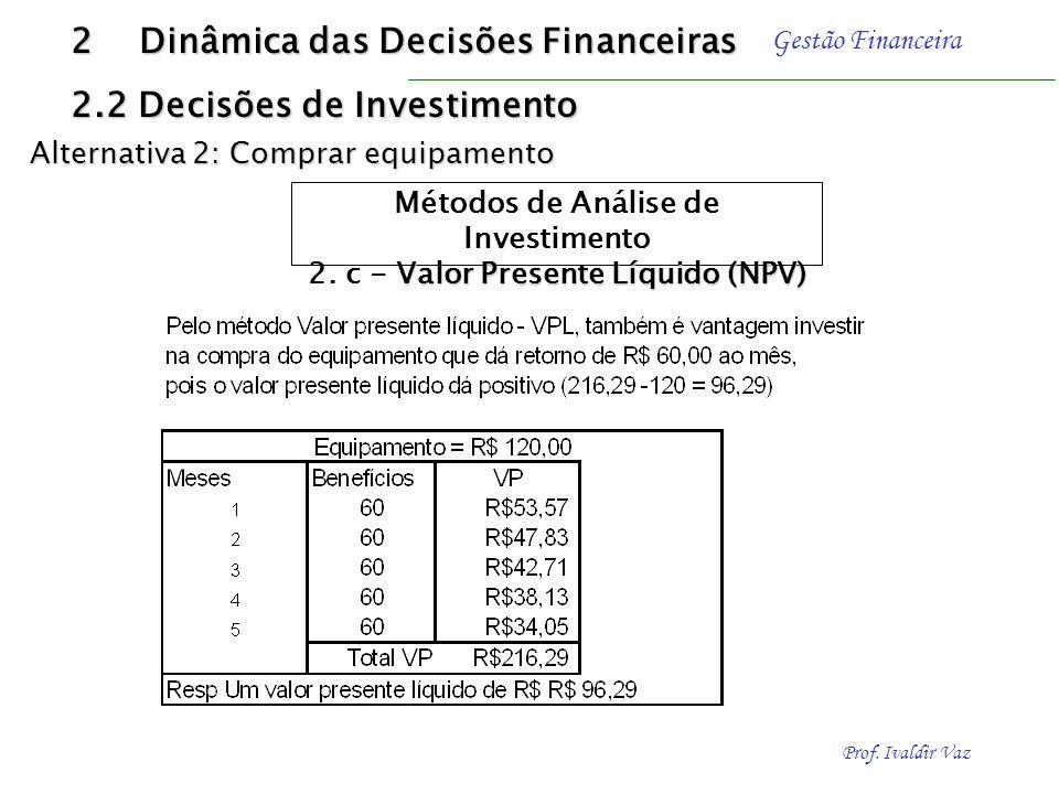 Prof. Ivaldir Vaz Gestão Financeira Resolução 2 Dinâmica das Decisões Financeiras 2.2 Decisões de Investimento Alternativa 2: Comprar equipamento Méto