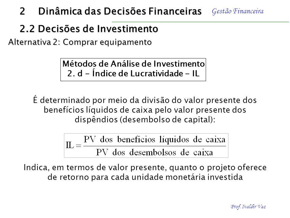 Prof. Ivaldir Vaz Gestão Financeira Um NPV positivo demonstra uma rentabilidade superior à mínima aceitável, enquanto um NPV negativo indica um retorn