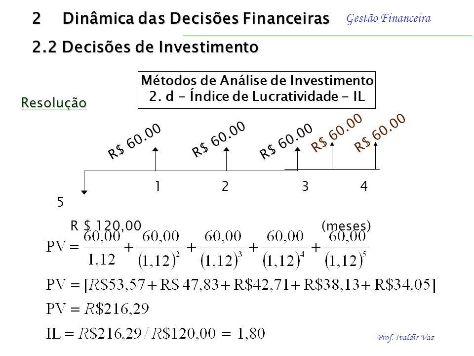 Prof. Ivaldir Vaz Gestão Financeira É determinado por meio da divisão do valor presente dos benefícios líquidos de caixa pelo valor presente dos dispê