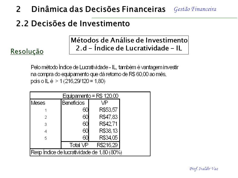 Prof. Ivaldir Vaz Gestão Financeira R$ 60.00 1 2 3 4 5 R $ 120,00 (meses) R$ 60.00 Resolução 2 Dinâmica das Decisões Financeiras 2.2 Decisões de Inves