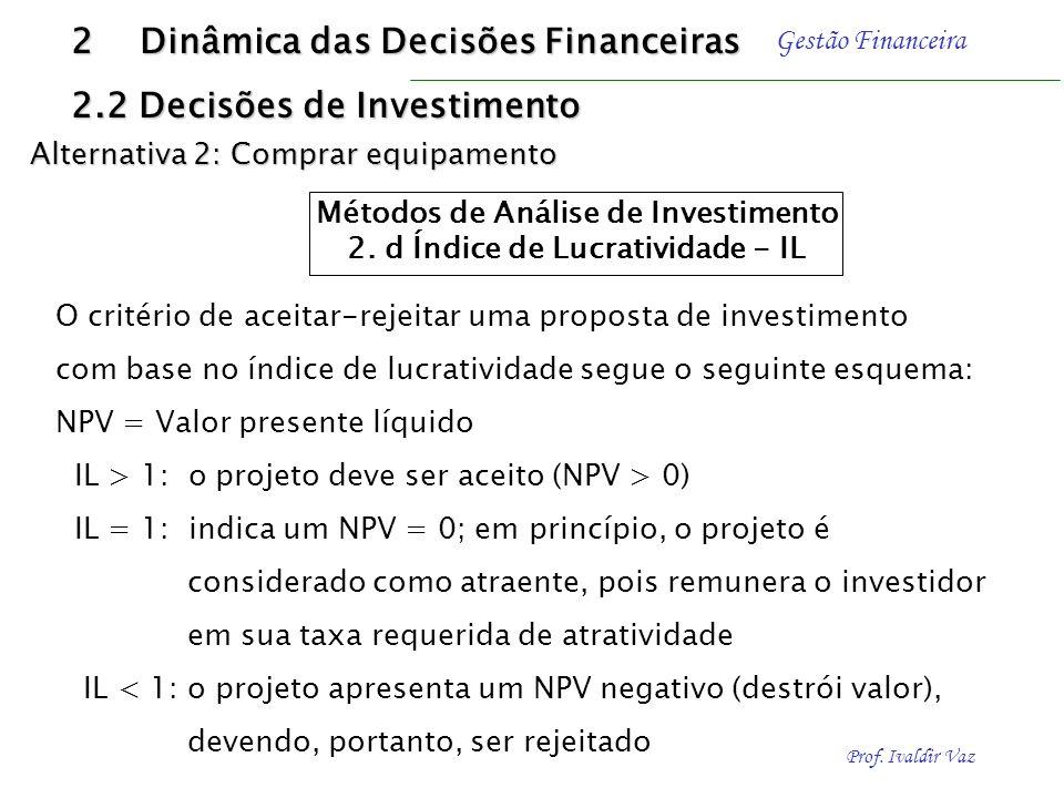 Prof. Ivaldir Vaz Gestão Financeira Resolução 2 Dinâmica das Decisões Financeiras 2.2 Decisões de Investimento Métodos de Análise de Investimento 2.d