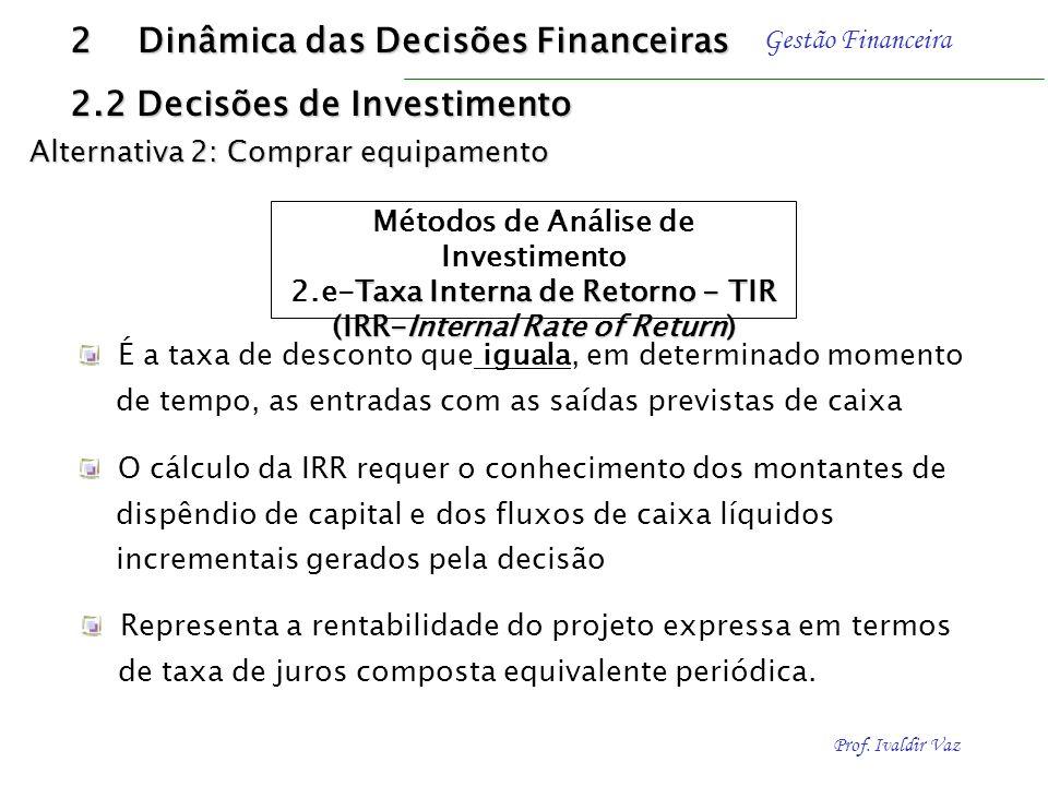 Prof. Ivaldir Vaz Gestão Financeira O critério de aceitar-rejeitar uma proposta de investimento com base no índice de lucratividade segue o seguinte e