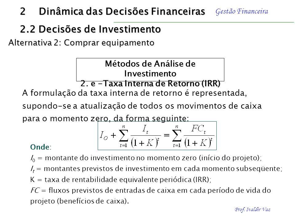 Prof. Ivaldir Vaz Gestão Financeira É a taxa de desconto que iguala, em determinado momento de tempo, as entradas com as saídas previstas de caixa O c