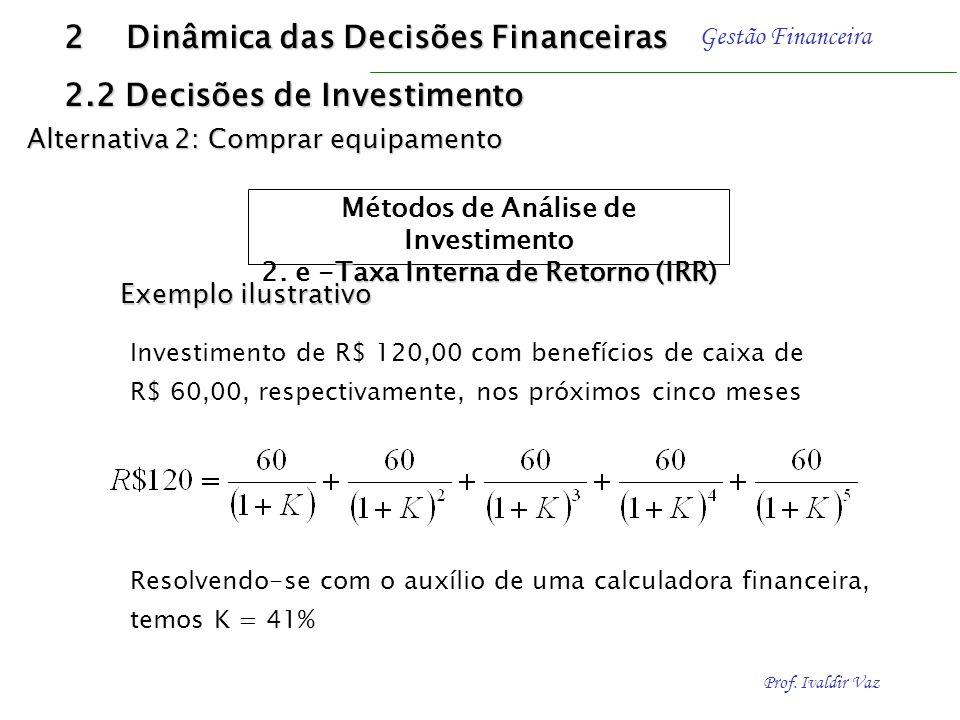Prof. Ivaldir Vaz Gestão Financeira A formulação da taxa interna de retorno é representada, supondo-se a atualização de todos os movimentos de caixa p