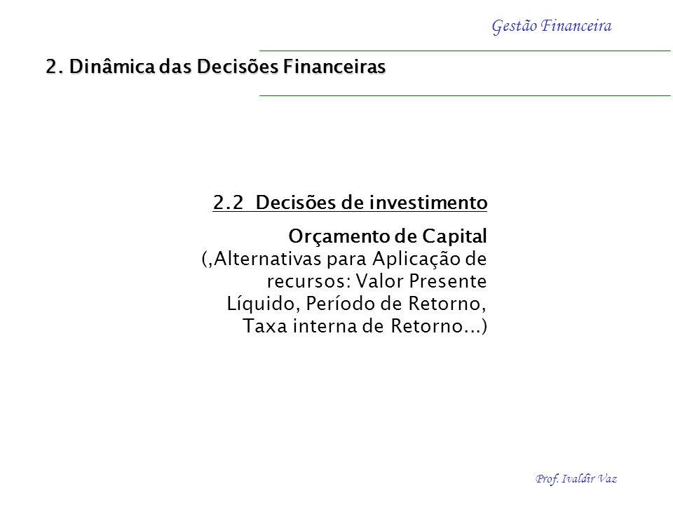 Prof. Ivaldir Vaz Gestão Financeira 2.2. Decisões de investimento Orçamento de Capital (,Alternativas para Aplicação de recursos Taxa interna de Retor