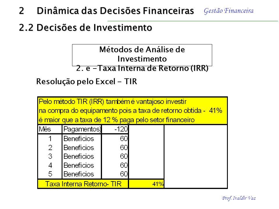 Prof. Ivaldir Vaz Gestão Financeira Exemplo ilustrativo Investimento de R$ 120,00 com benefícios de caixa de R$ 60,00, respectivamente, nos próximos c