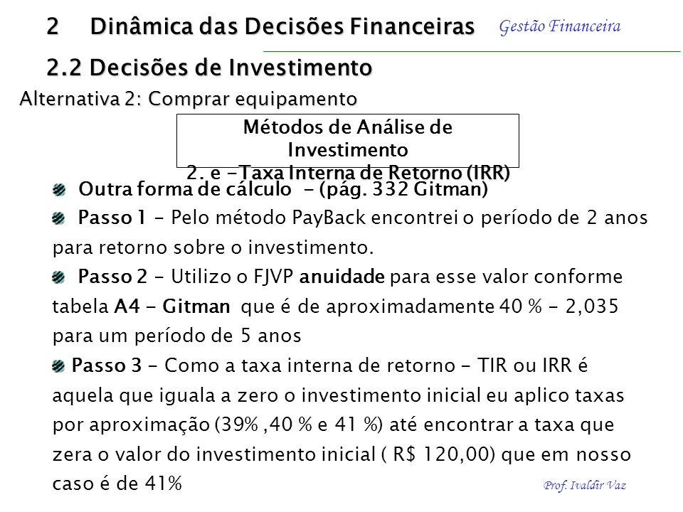 Prof. Ivaldir Vaz Gestão Financeira 2 Dinâmica das Decisões Financeiras 2.2 Decisões de Investimento Métodos de Análise de Investimento Taxa Interna d