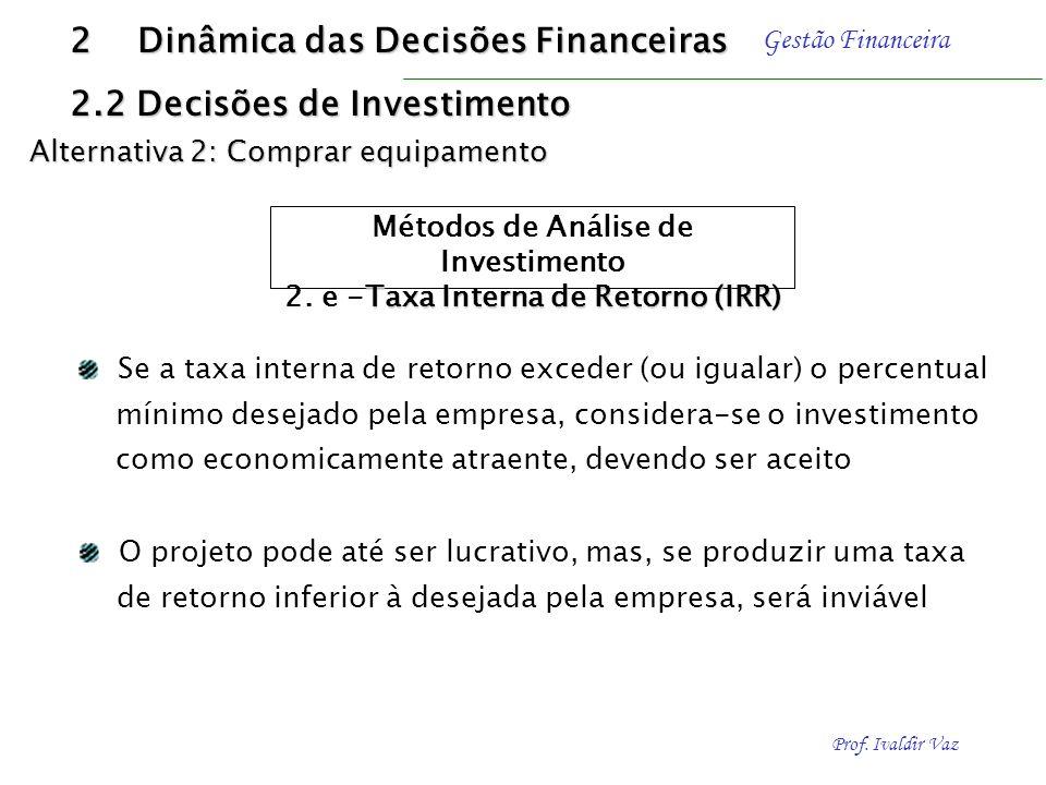 Prof. Ivaldir Vaz Gestão Financeira 2 Dinâmica das Decisões Financeiras 2.2 Decisões de Investimento Alternativa 2: Comprar equipamento Métodos de Aná