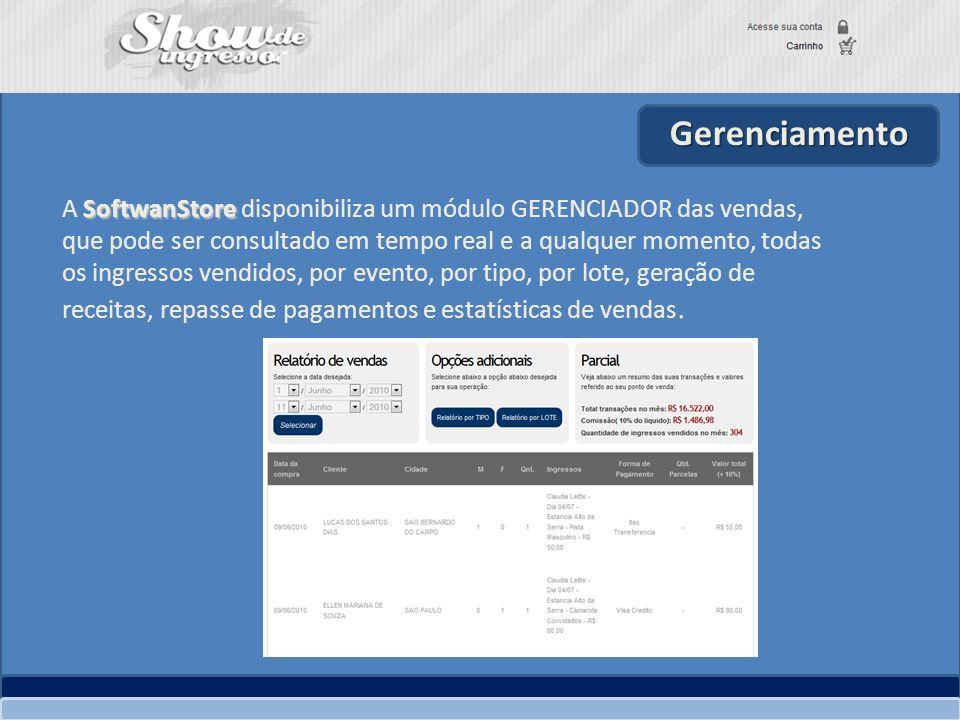 Gerenciamento SoftwanStore A SoftwanStore disponibiliza um módulo GERENCIADOR das vendas, que pode ser consultado em tempo real e a qualquer momento,