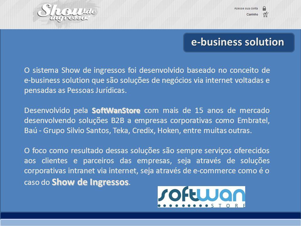 O sistema Show de ingressos foi desenvolvido baseado no conceito de e-business solution que são soluções de negócios via internet voltadas e pensadas