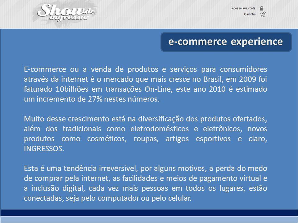 e-commerce experience E-commerce ou a venda de produtos e serviços para consumidores através da internet é o mercado que mais cresce no Brasil, em 200