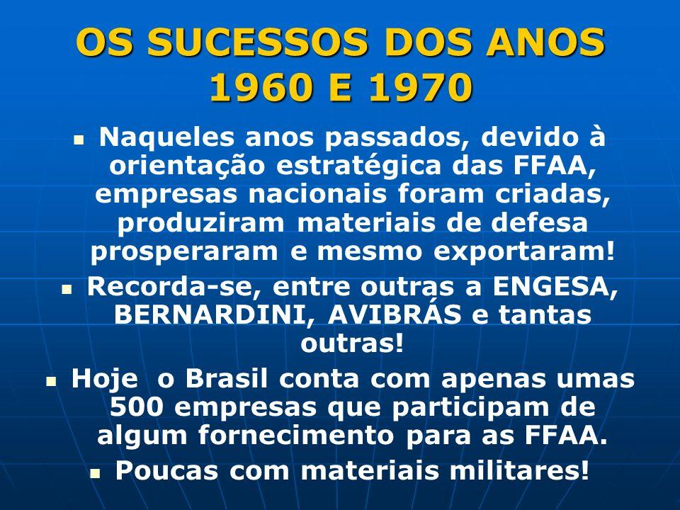 OS SUCESSOS DOS ANOS 1960 E 1970 Naqueles anos passados, devido à orientação estratégica das FFAA, empresas nacionais foram criadas, produziram materiais de defesa prosperaram e mesmo exportaram.