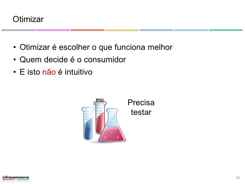 34 Otimizar Otimizar é escolher o que funciona melhor Quem decide é o consumidor E isto não é intuitivo Precisa testar