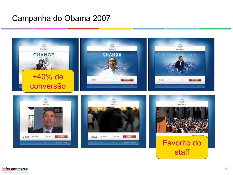 39 Campanha do Obama 2007 Favorito do staff +40% de conversão