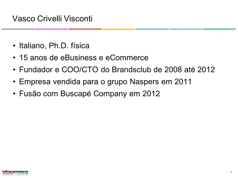 4 Vasco Crivelli Visconti Italiano, Ph.D. física 15 anos de eBusiness e eCommerce Fundador e COO/CTO do Brandsclub de 2008 até 2012 Empresa vendida pa