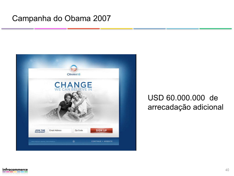40 Campanha do Obama 2007 USD 60.000.000 de arrecadação adicional