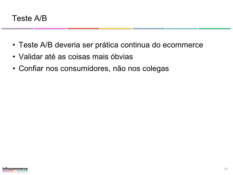 41 Teste A/B Teste A/B deveria ser prática continua do ecommerce Validar até as coisas mais óbvias Confiar nos consumidores, não nos colegas