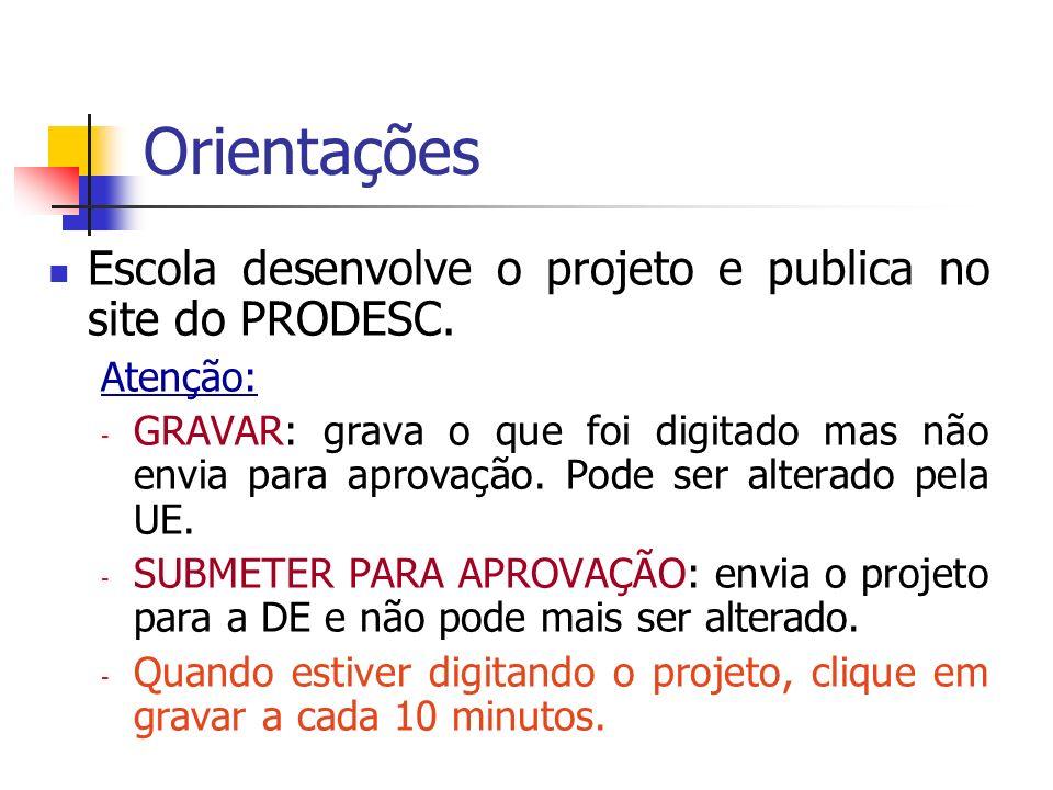 Processo de Aprovação Diretoria de Ensino – autoriza a execução do projeto (etapa realizada pela CENP até 2011).