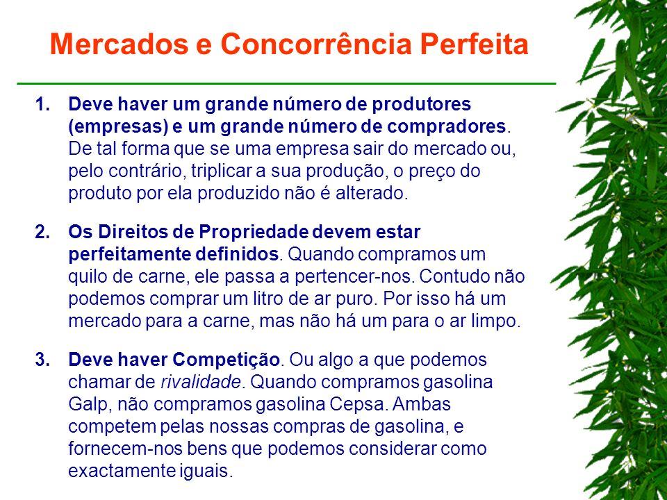 Mercados e Concorrência Perfeita 1.Deve haver um grande número de produtores (empresas) e um grande número de compradores.