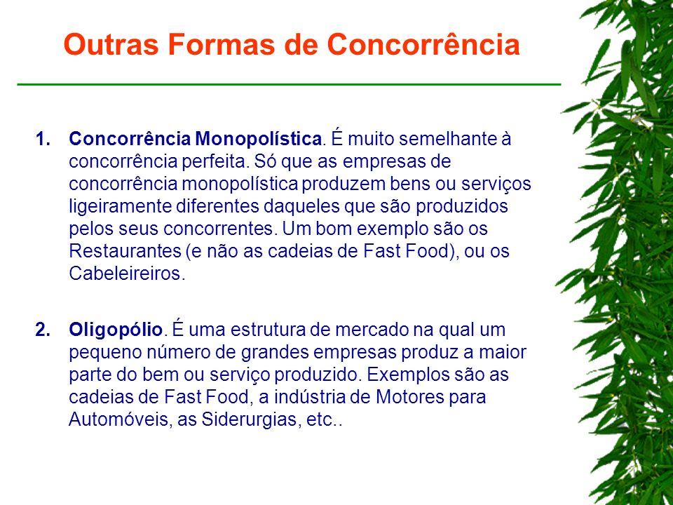Outras Formas de Concorrência 1.Concorrência Monopolística.