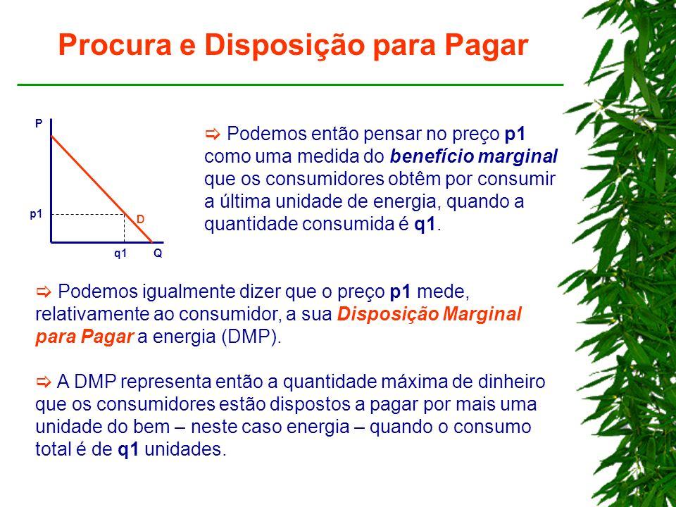 Procura e Disposição para Pagar P Q p1 q1 D Podemos então pensar no preço p1 como uma medida do benefício marginal que os consumidores obtêm por consumir a última unidade de energia, quando a quantidade consumida é q1.