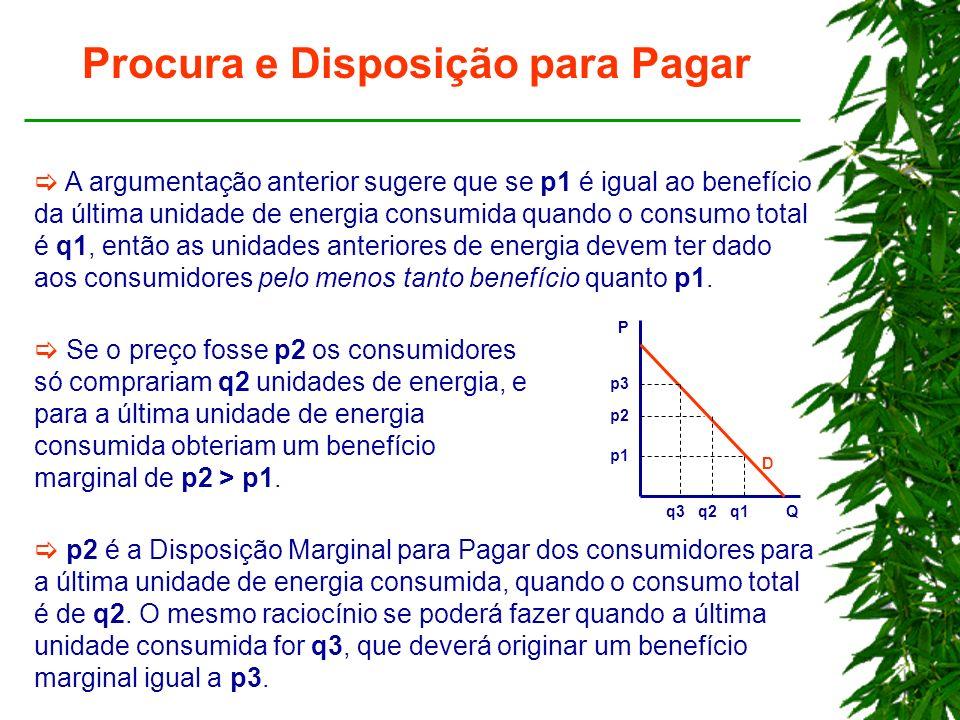Procura e Disposição para Pagar A argumentação anterior sugere que se p1 é igual ao benefício da última unidade de energia consumida quando o consumo total é q1, então as unidades anteriores de energia devem ter dado aos consumidores pelo menos tanto benefício quanto p1.