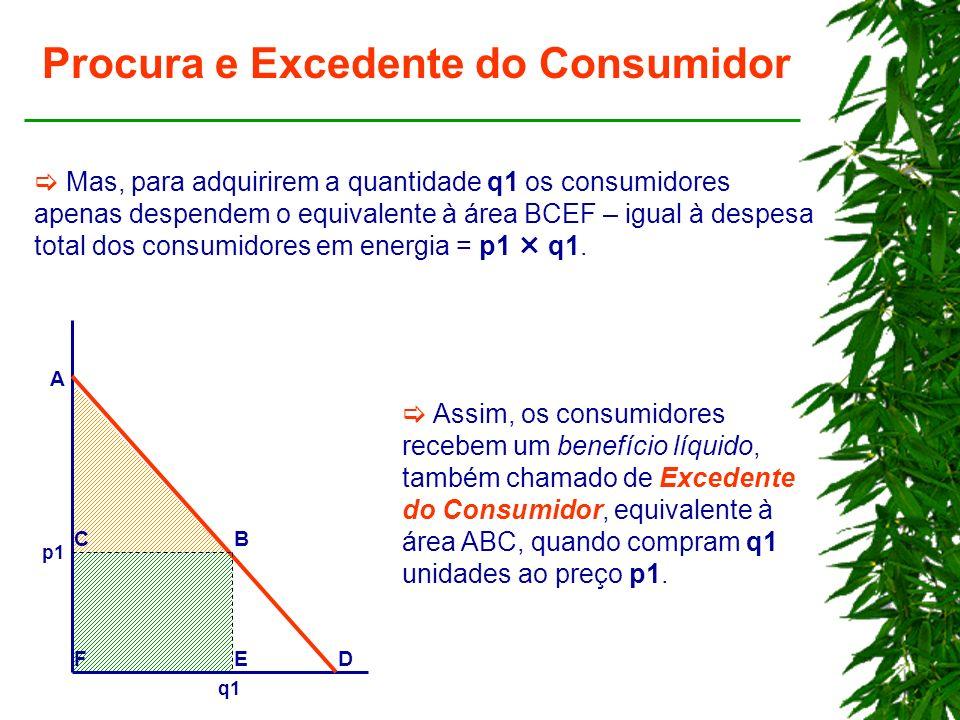 Procura e Excedente do Consumidor Mas, para adquirirem a quantidade q1 os consumidores apenas despendem o equivalente à área BCEF – igual à despesa total dos consumidores em energia = p1 q1.