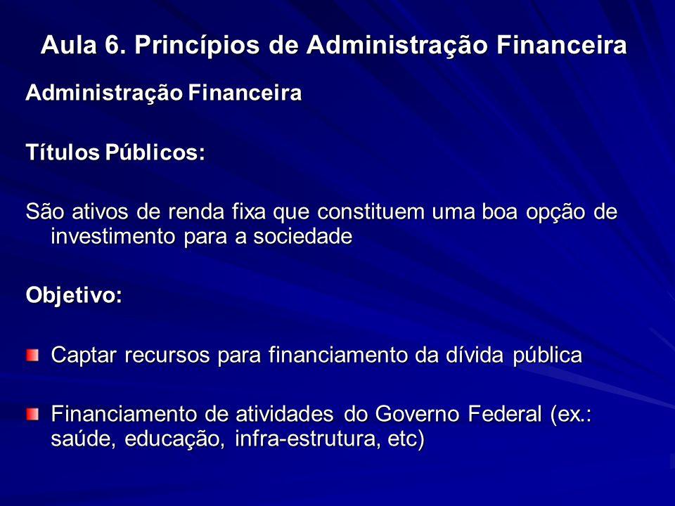 Aula 6. Princípios de Administração Financeira Administração Financeira Títulos Públicos: São ativos de renda fixa que constituem uma boa opção de inv