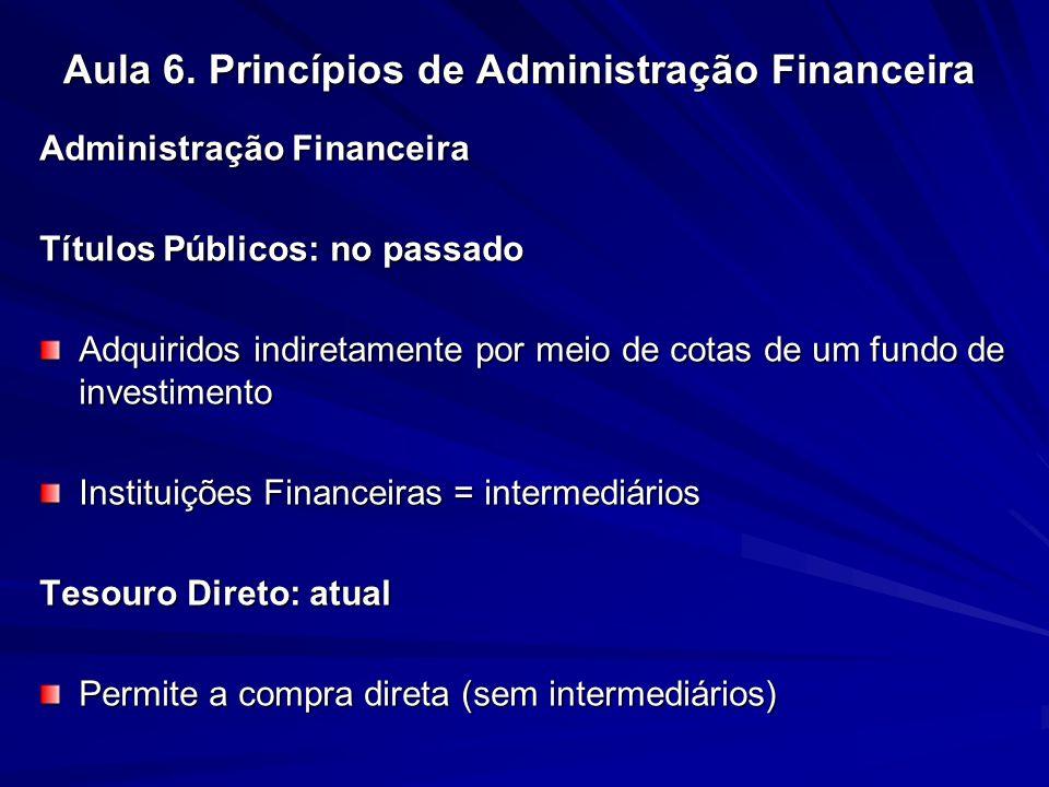 Aula 6. Princípios de Administração Financeira Administração Financeira Títulos Públicos: no passado Adquiridos indiretamente por meio de cotas de um