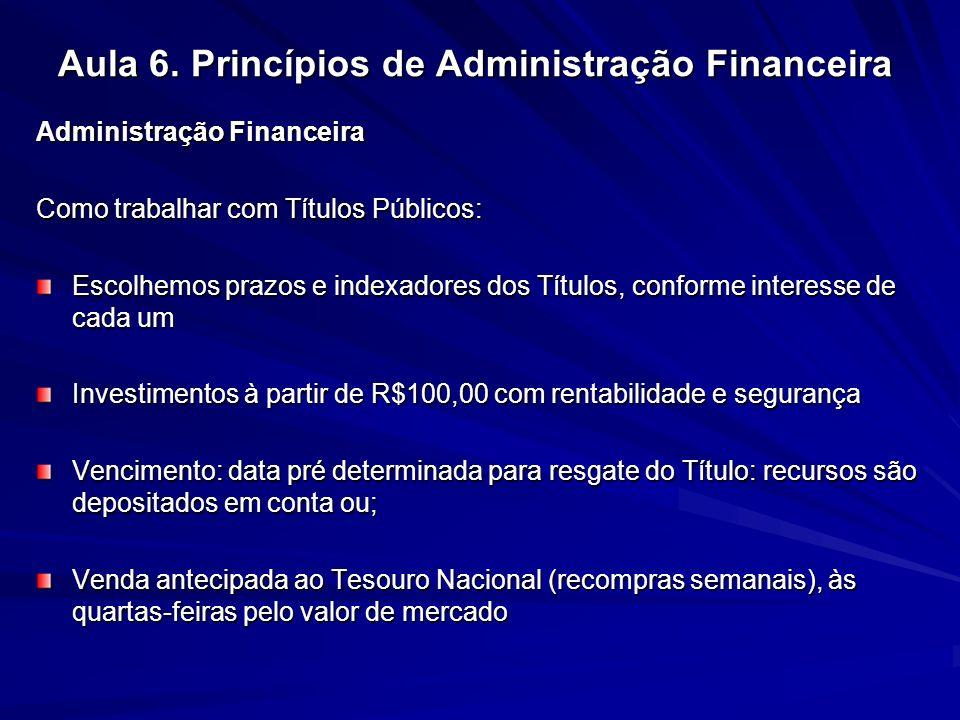 Aula 6. Princípios de Administração Financeira Administração Financeira Como trabalhar com Títulos Públicos: Escolhemos prazos e indexadores dos Títul
