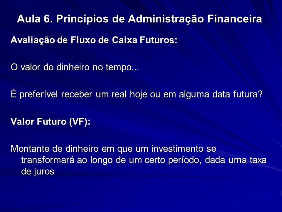 Aula 6. Princípios de Administração Financeira Avaliação de Fluxo de Caixa Futuros: O valor do dinheiro no tempo... É preferível receber um real hoje