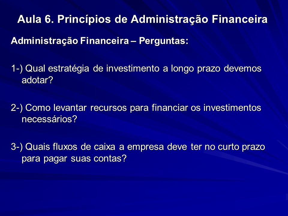Aula 6. Princípios de Administração Financeira Administração Financeira – Perguntas: 1-) Qual estratégia de investimento a longo prazo devemos adotar?