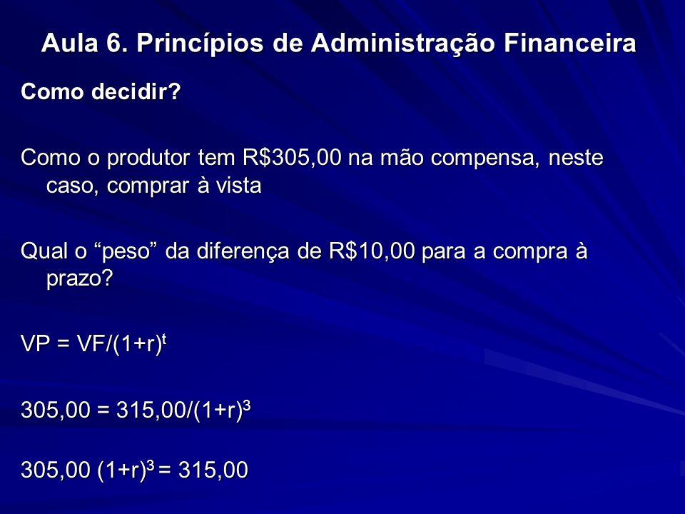 Aula 6. Princípios de Administração Financeira Como decidir? Como o produtor tem R$305,00 na mão compensa, neste caso, comprar à vista Qual o peso da