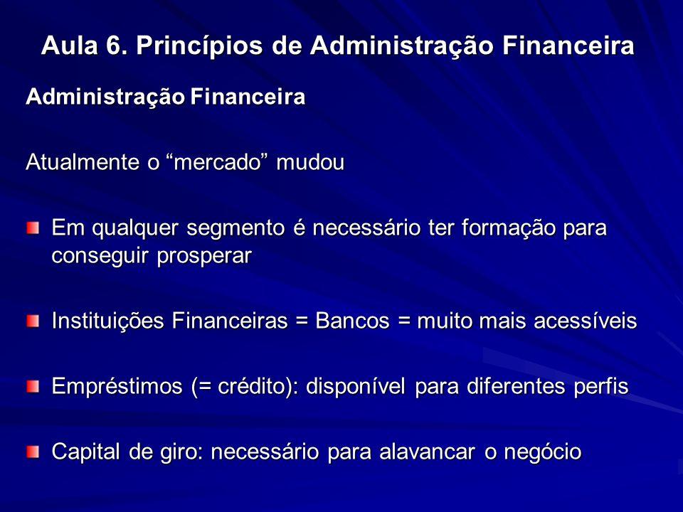 Aula 6. Princípios de Administração Financeira Administração Financeira Atualmente o mercado mudou Em qualquer segmento é necessário ter formação para