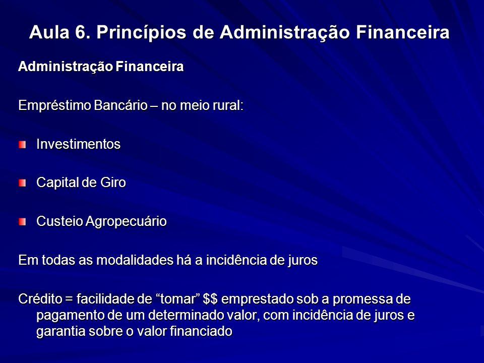 Aula 6. Princípios de Administração Financeira Administração Financeira Empréstimo Bancário – no meio rural: Investimentos Capital de Giro Custeio Agr