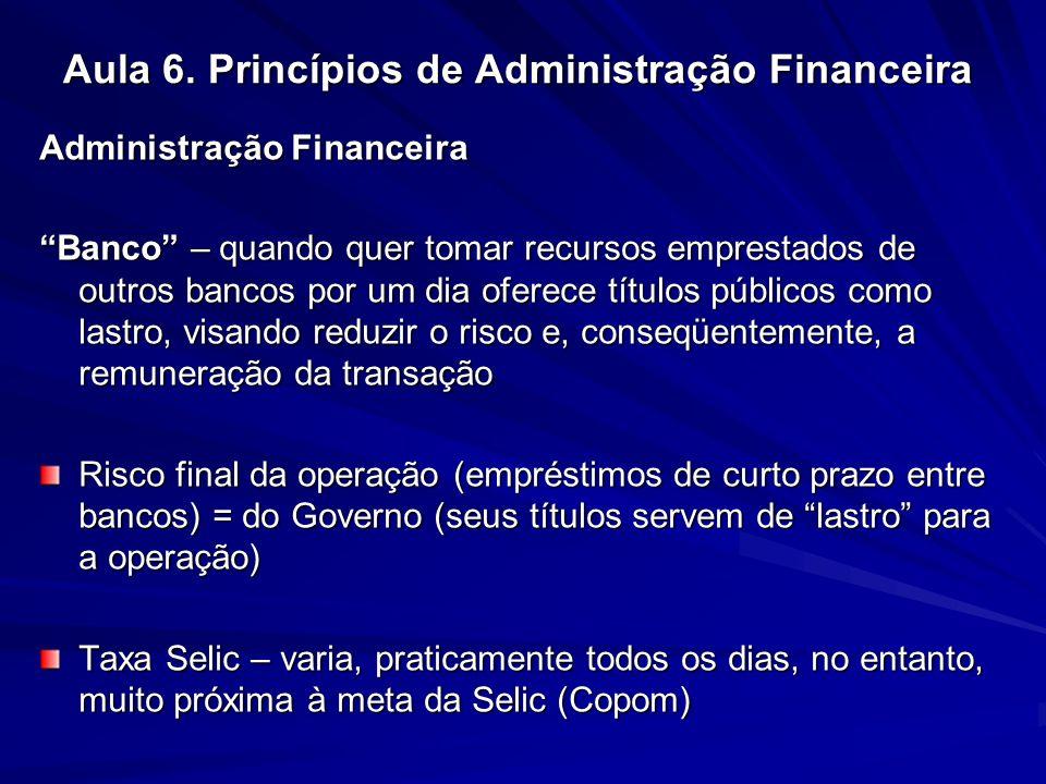 Aula 6. Princípios de Administração Financeira Administração Financeira Banco – quando quer tomar recursos emprestados de outros bancos por um dia ofe