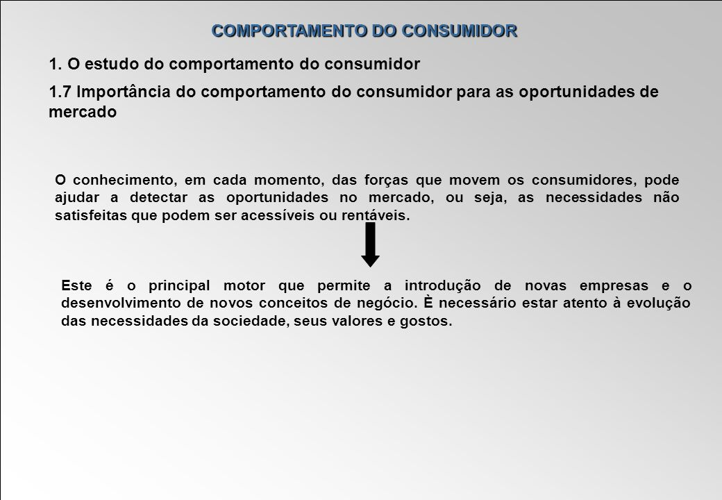 COMPORTAMENTO DO CONSUMIDOR 1. O estudo do comportamento do consumidor 1.7 Importância do comportamento do consumidor para as oportunidades de mercado
