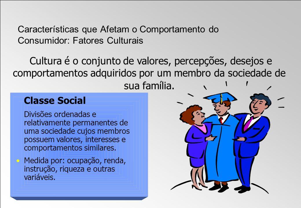 Cultura é o conjunto de valores, percepções, desejos e comportamentos adquiridos por um membro da sociedade de sua família. Classe Social Divisões ord