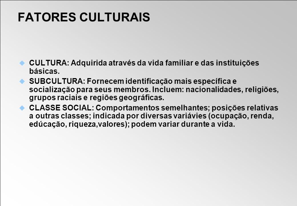 FATORES CULTURAIS CULTURA: Adquirida através da vida familiar e das instituições básicas. SUBCULTURA: Fornecem identificação mais específica e sociali