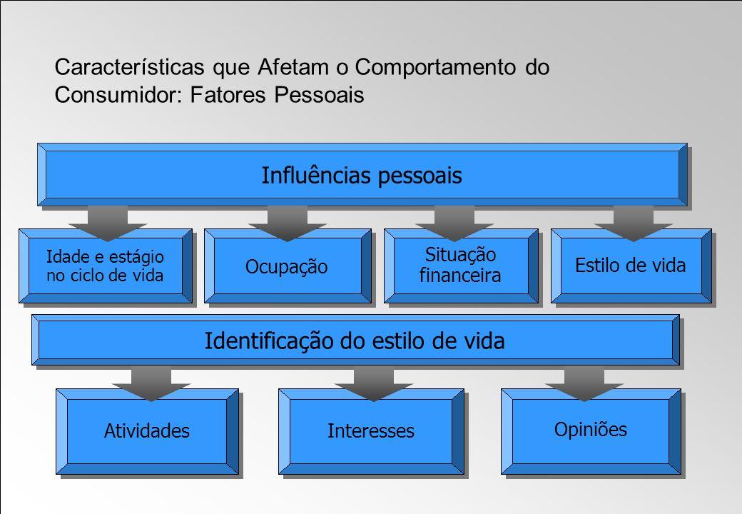 Influências pessoais Idade e estágio no ciclo de vida Ocupação Estilo de vida Situação financeira AtividadesInteresses Identificação do estilo de vida