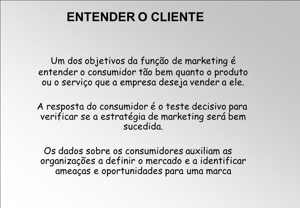 ENTENDER O CLIENTE Um dos objetivos da função de marketing é entender o consumidor tão bem quanto o produto ou o serviço que a empresa deseja vender a