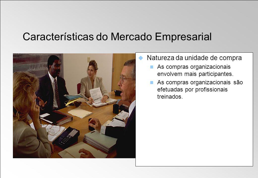 Natureza da unidade de compra As compras organizacionais envolvem mais participantes. As compras organizacionais são efetuadas por profissionais trein